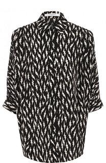 Шелковая блуза свободного кроя с принтом Givenchy