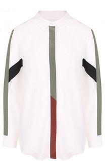 Шелковая блуза свободного кроя с контрастной отделкой Equipment