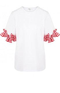 Хлопковая футболка с контрастными оборками Clu