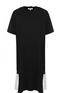 Хлопковое мини-платье с контрастной оборкой Clu