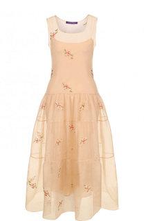 Приталенное шелковое платье-миди Ralph Lauren