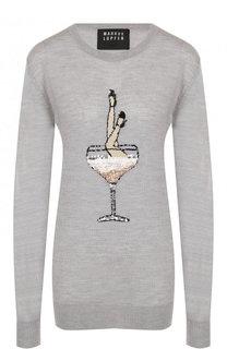 Шерстяной пуловер с круглым вырезом и пайетками Markus Lupfer