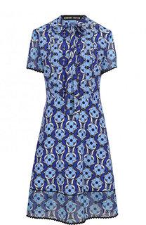 Приталенное шелковое платье с принтом Markus Lupfer