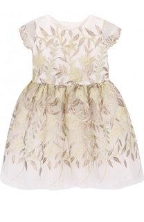 Мини-платье с декоративной вышивкой и бантом David Charles