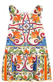 Хлопковое мини-платье А-силуэта с принтом и бантами Dolce & Gabbana
