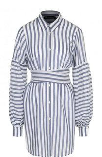 Удлиненная блуза в полоску с поясом Pietro Brunelli