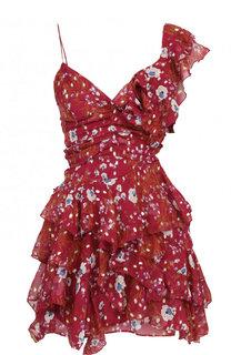 Приталенное шелковое мини-платье с оборками Isabel Marant