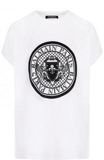 Хлопковая футболка свободного кроя с логотипом бренда Balmain