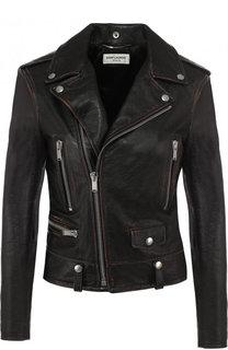 Однотонная кожаная куртка с косой молнией Saint Laurent