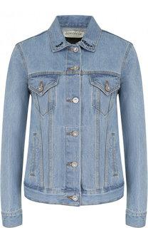 Джинсовая куртка с декорированной спинкой и потертостями Etre Cecile