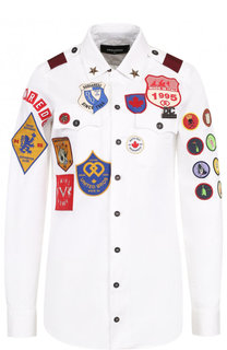 Хлопковая блуза с погонами и контрастными нашивками Dsquared2