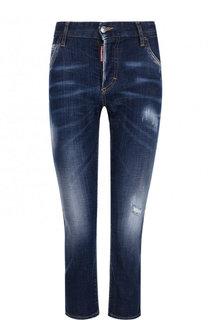 Укороченные джинсы-скинни с потертостями Dsquared2