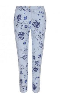 Укороченные брюки из смеси льна и хлопка с цветочным принтом 120% Lino