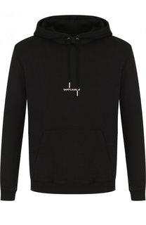 Хлопковый пуловер с логотипом бренда Saint Laurent