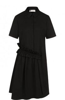 Хлопковое платье-рубашка с драпировкой и коротким рукавом Lanvin