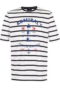 Хлопковая футболка в контрастную полоску с принтом Paul&Shark Paul&Shark