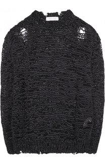 Однотонный пуловер фактурной вязки с круглым вырезом Iro