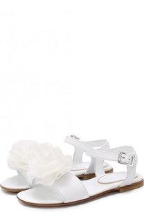 Кожаные сандалии на ремешке с цветочной аппликацией Lanvin