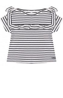 Хлопковая футболка в полоску с оборкой Chloé