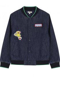 Джинсовая куртка-бомбер с нашивками Kenzo