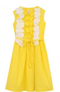 Хлопковое платье с рюшами и поясом Il Gufo