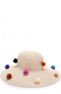 Шляпа с помпонами Eric Javits