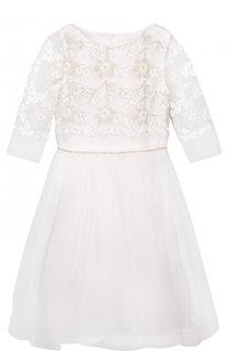 Платье-миди с декоративной вышивкой и кристаллами на поясе David Charles