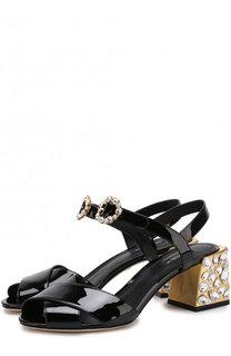 Лаковые босоножки Keira на декорированном каблуке Dolce & Gabbana