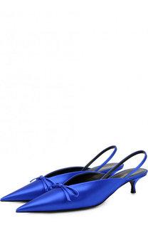 Атласные туфли Knife на каблуке kitten heel Balenciaga