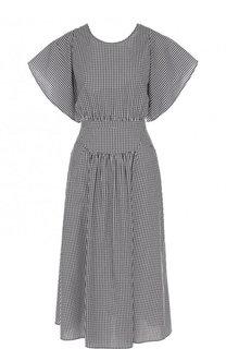 Приталенное хлопковое платье-миди в клетку No. 21