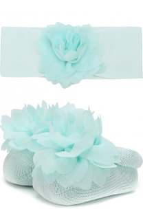 Комплект из пинетки и повязки на голову с цветочным декором La Perla