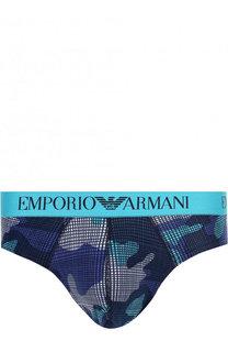 Хлопковые брифы с широкой резинкой Emporio Armani