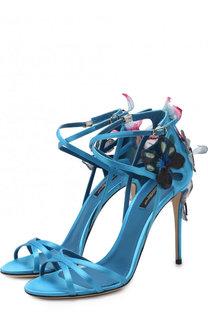 Атласные босоножки Keira с аппликациями на шпильке Dolce & Gabbana