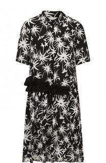Шелковое платье-рубашка с цветочным принтом Lanvin