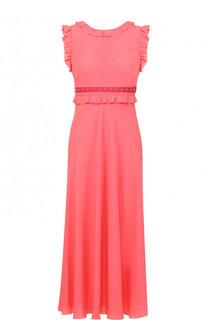 Платье-миди с завышенной талией и оборками REDVALENTINO