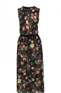 Приталенное шелковое платье-миди с цветочным принтом Theory