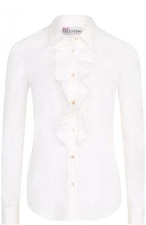 Приталенная хлопковая блуза с оборкой REDVALENTINO