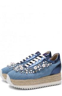 Кроссовки из денима с декором на платформе Le Silla