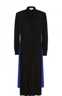 Приталенное платье-миди с воротником аскот и длинным рукавом Maison Margiela