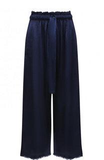Укороченные однотонные брюки из вискозы Raquel Allegra