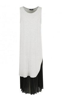 Платье-миди с контрастной плиссированной вставкой Yohji Yamamoto