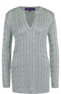 Удлиненный шелковый пуловер фактурной вязки Ralph Lauren