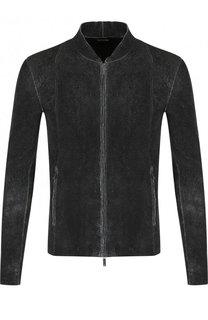 Кожаная куртка на молнии с потертостями Emporio Armani