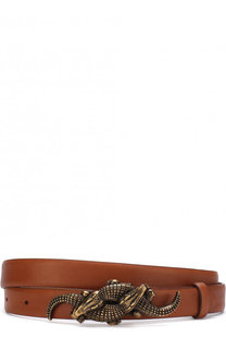 Кожаный ремень с фигурной металлической пряжкой Ralph Lauren