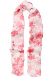 Шелковый шарф с цветочным принтом Emporio Armani