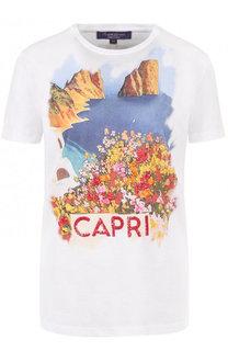 Хлопковая футболка с круглым вырезом и принтом Ralph Lauren