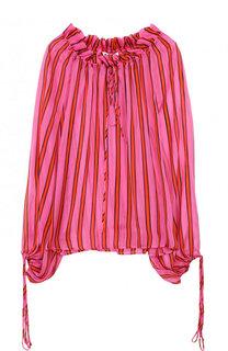 Шелковая блуза свободного кроя в полоску MSGM