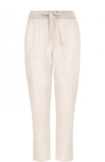 Льняные укороченные брюки с эластичным поясом Deha