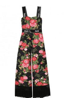 Приталенный комбинезон с цветочным принтом и бахромой Dolce & Gabbana