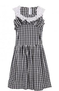 Хлопковое платье в клетку с оборками Simonetta